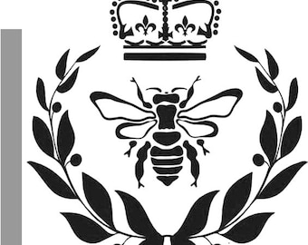 """Queen Bee, Wreath and Crown durable 190mm Mylar 6"""", 8"""", 12"""" Stencil - FRee UK P&P"""