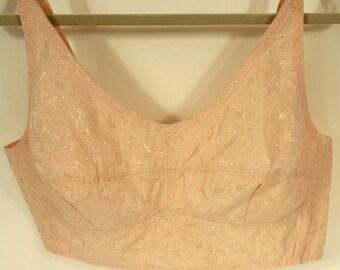 Peach cotton vintage bra, 1950s, no wires, good support, antique bra, REDUCED PRICE
