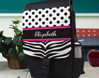 Personalized Zebra Print Kids Backpack Custom Name Gift