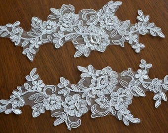 Bridal Lace Applique Trim Appliques in Beige for Weddings, Headpieces, Sashes, Veils, WL732-DIYROSE
