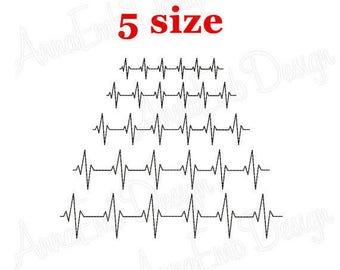 Heartbeat Embroidery Design. EKG Embroidery Design.  Machine Embroidery Design. Heartbeat Line Embroidery Design. Medicine Embroidery.