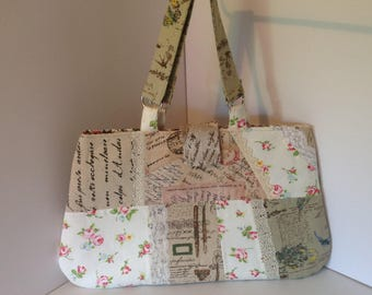Patch work bag trimmed with lace