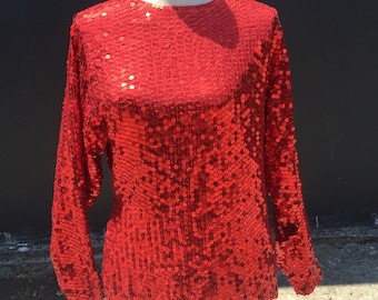 Vintage Red Sequined Top