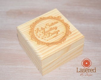 Small Pine Wooden Box Laser Engraved Personalised
