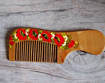Wooden comb hair care girlfriend gift sister valentines gift for her hand painted red flower unique gift idea romantic gift mom gift women