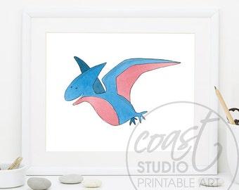 Cute Pterodactyl Dinosaur Picture / Fun Printable Art /Nursery picture/ Dinosaur room decor / Watercolour Instant Download