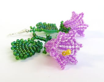 Bellflower earrings Purple Campanula earrings Harebell Flowers earrings Dangle earrings Purple Flowers earrings Summer outdoors Summer party