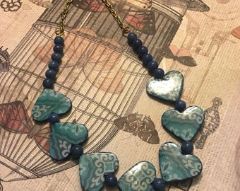 Blue Heart Bead Necklace