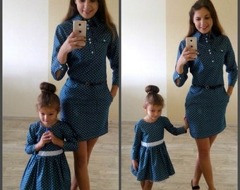 Cotton Denim Matching Mother daughter dresses, Different colors Midi Mommy and me polka dot outfit Dress for mother and daughter Family look
