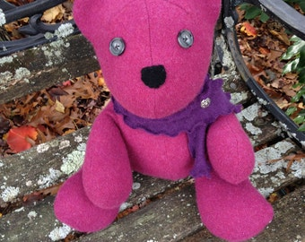 Soft Stuffed Teddy Bear - Upcycled Cashmere Teddy Bear - Recycled Cashmere Sweater - Pink Teddy Bear - Cashmere - Ready To Ship - Soft