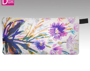 Pencil or makeup case, watercolor print abstract floral