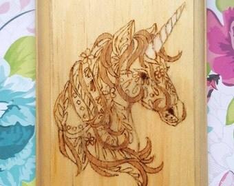 Unicorn Wood Wall Hanging Decor Lightly Stained Pyrography Wood Burning