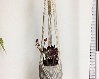 "Macrame Plant Hanger / Natural Cotton / 42"" Long"