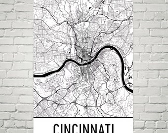 Cincinnati Map, Cincinnati Art, Cincinnati Wall Art, Cincinnati Print, Cincinnati Ohio Art Poster, Map of Cincinnati OH, Gift, Print, Decor