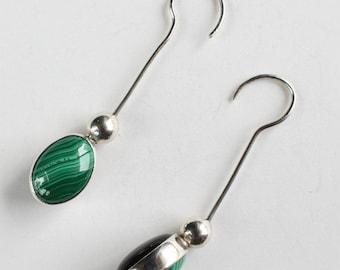 Malachite Earrings Onyx Earrings Swivel Stone Inlay Long Wire Sterling Silver