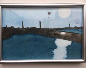 Aquarel, framed