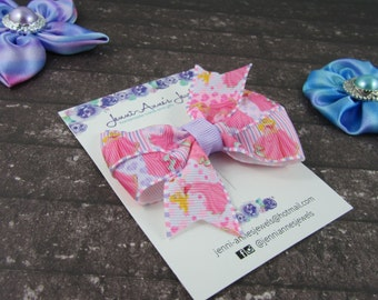 Pinwheel Hair Bow Clip - Sleeping Beauty Aurora