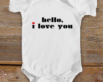 Hello I Love You Baby Bodysuit | Rock n Roll Baby | Cute Baby Shower Gift | Music Baby | Love Baby