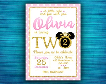 Minnie Mouse invitation-Pink and Gold Minnie Mouse Birthday Invitation-Party invitation-1st Birthday-2nd Birthday-Gold Glitter- Polka Dot