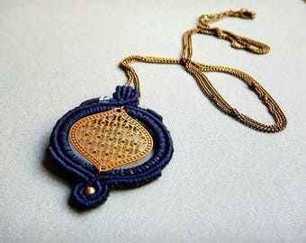 Long macrame necklace, gold pendant, hippie jewelry, navy blue and gold, gift for her