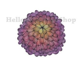 Bloom Flower Watercolor Pencil Print - Multicolor Flower Blooming Art - Ink Pencil and Watercolor Floral- Digital Download Print