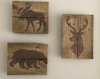 Wildlife wall art, deer wall art, deer art, bear art, bear wall art, moose wall art, moose art