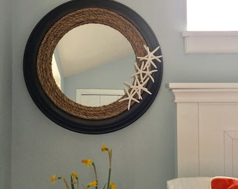 2-Tone Rope Mirror with Starfish- Large