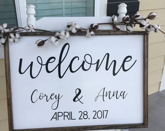 24 x 16 Wedding Welcome Sign - Wood Welcome Wedding Sign - Framed wood wedding sign