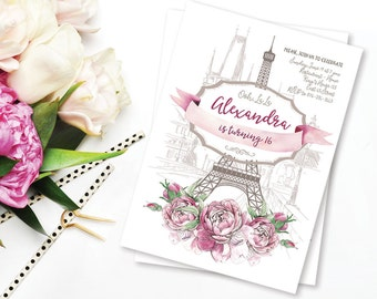 Paris Birthday Invitation, Eiffel Tower Invite, French theme party, Sweet 16 Romantic Birthday, 16th Birthday Invite 17th 18th 19th 20th 21