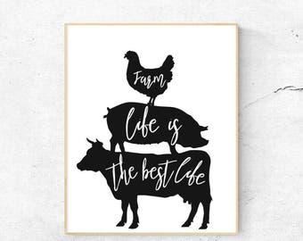 Farm Life Digital Print, cow, pig, chicken, country decor, wall art, home decor, instant download, 8x10, jpg, animal print