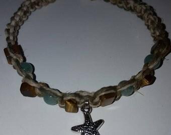 All Natural Hemp Bracelet with Starfish Charm