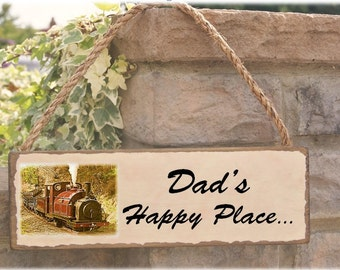 Dads happy place sign  gift for the station master!  can be personalised