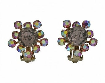 1960s Gold Tone and Lilac Aurora Borealis Rhinestone Vintage Earrings