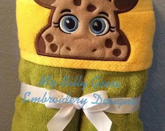 DIGITAL FILE 5x7 Giraffe Girl Peeker hooded towel embroidery design hoodie towel topper April bow holder