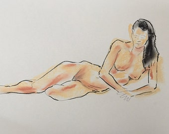 Akt // Aktzeichnung // Nude drawing // 29,7 cm x 42 cm. In Inch 11,69 in x 16,54