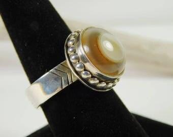 Eye agate set in sterling silver