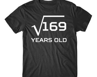 Square Root Of 169 Funny 13 Years Old Funny 13th Birthday Math T-Shirt