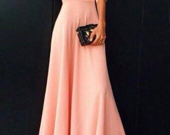 Custom made peach maxi dress Long dress peach dress evening maxi dress formal outfit peach dress with sleeves