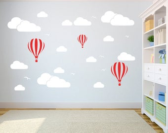 Kids Room Hot Air Balloons and Clouds Vinyl Decal Set - Multiple Colors and Sizes - Children Play Room - Nursery - Boys and Girls