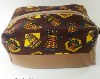 Dr Who / Dalek bag / boxy pouch / dopp kit / project bag / gadget holder / storage case