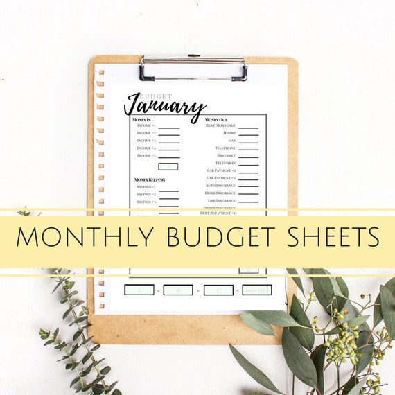 Monthly Budget Template - Instant Download