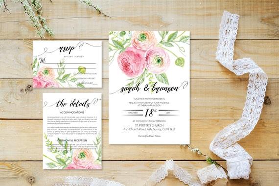 Flower wedding invite_36,Printable Wedding Invitation Suite,Wedding Invite Set,Wedding Printable,Calligraphy