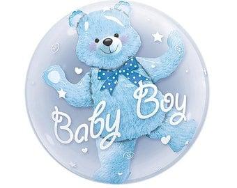 Double Bubble Baby Shower Balloon, Bear inside Balloon, it's a boy balloon, it's a girl balloon, Baby  Bear Balloon, Baby Bear Bubble