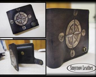 leather wallet Rose of Wind black