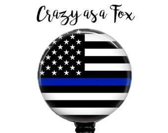 Thin Blue Line Flag Retractable Badge Holder,  Retractable Badge Reel,  Police Badge Reel, ID Badge Reel