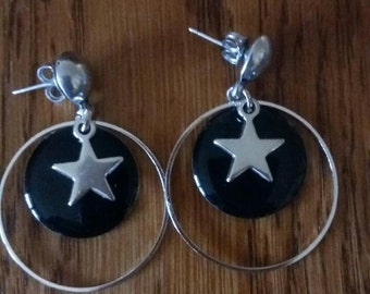 Star and black sequin earrings