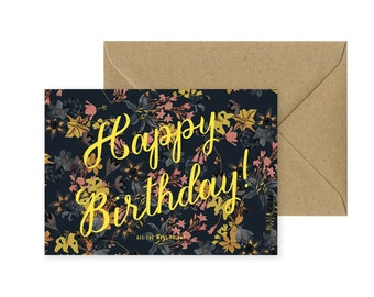 A6 card - happy birthday - happy birthday flowers