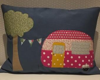 Handmade shabby chic caravan cushion
