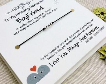 Boyfriend Wish Bracelet, Boyfriend Gift, Gift For Boyfriend, Boyfriend Birthday, Card For Boyfriend, Gift 4 Boyfriend, Boyfriend Bracelet