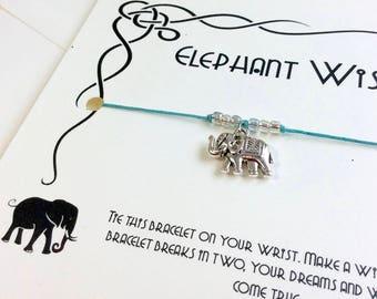 Elephant Bracelet Elephant Jewelry Elephant Gifts For Women Elephant Wish Bracelet Friendship Bracelet Silver Elephant Charm Lucky Elephant